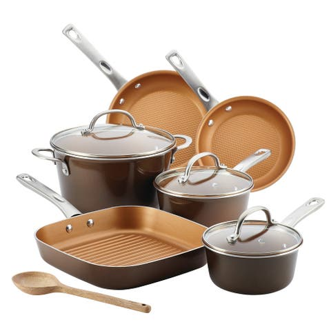 Ayesha Home Collection Porcelain Enamel Nonstick Cookware Set, 10-pc