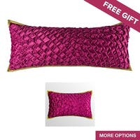 Glam Solid Pink Velvet Textured Decorative Handmade Throw Pillow Cover