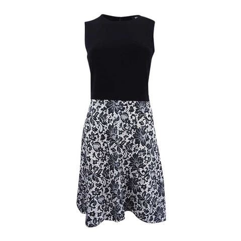 DKNY Women's Lace Print Combo Dress - Black/White