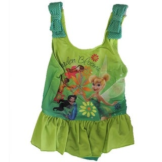 Disney Little Girls Green Tinker Bell Inspired Print One Piece Swimsuit