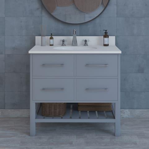 "Chase 36"" Warm Grey Modern Vanity with Shelf"