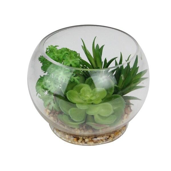 """4.75"""" Artificial Succulent Arrangement Glass Terrarium with Pebbles - N/A"""