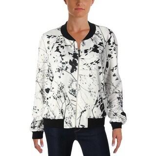 Tahari ASL Womens Bomber Jacket Printed Long Sleeves - 12