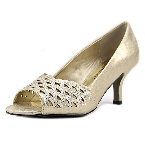 Easy Street Royal Women Peep-Toe Synthetic Gold Heels