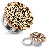 Rose Gold Tribal Flower Top Design Surgical Steel Screw Fit Tunnel (Sold Ind.)