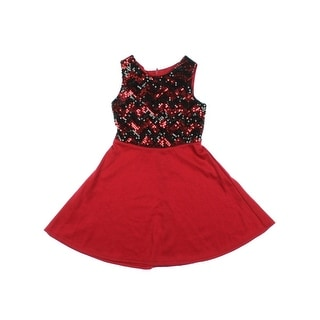 Amy Byer Girls Sequined Chevron Party Dress - 6