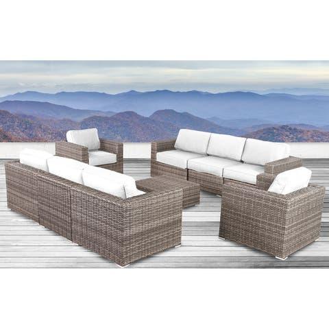 Living Source International Antibes Grey Wicker Sunbrella 9-piece Sofa Club Set