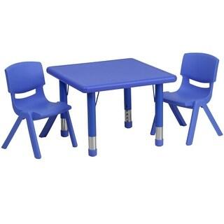 Delacora FF-YU-YCX-0023-2-SQR-TBL-R-GG Three Piece Plastic Framed Classroom Set