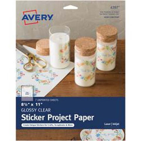 """Clear - Full-Sheet Sticker Project Paper 8.5""""X11"""" 7 Sheets"""