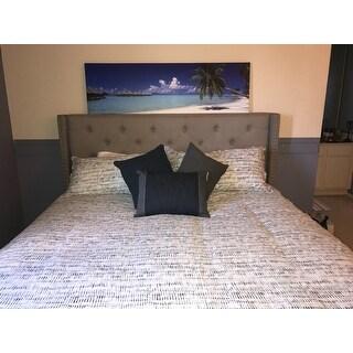 Best Master Furniture Linen Blend Upholstered Wingback Panel Bed