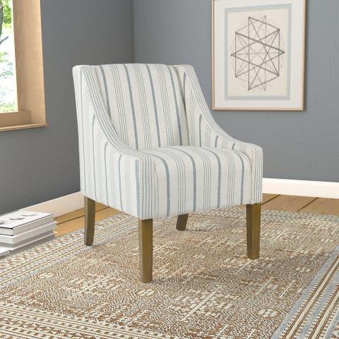 HomePop Modern Swoop Accent Chair - Blue Calypso Stripe