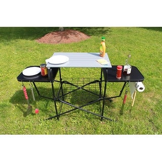 Chef's Basics Select Outdoor Folding Grilling Table, Black