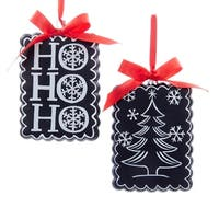 """Club Pack of 12 Glass Chalkboard Paint """"HOHOHO"""" and Christmas Tree with Red Ribbon Bow Decorative Ornaments - black"""