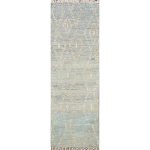 "Geometric Moroccan Oriental Narrow Wool Runner Rug Handmade Carpet - 1'9"" x 5'7"""