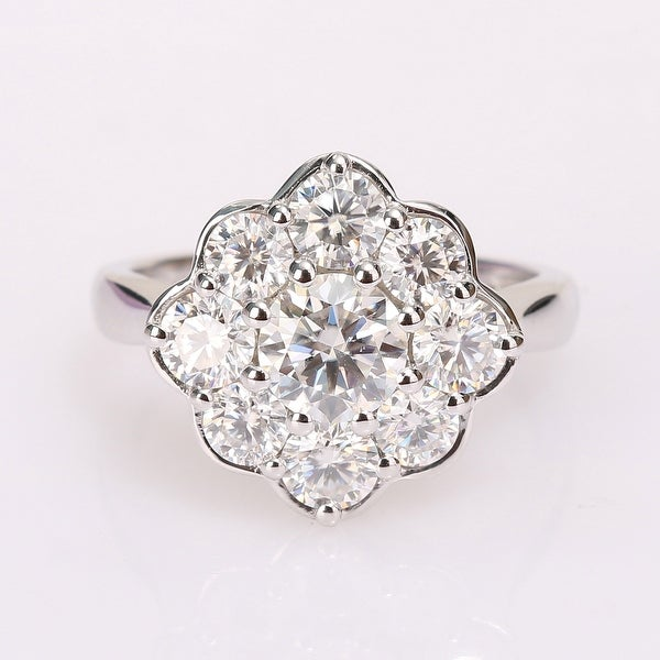 Miadora 2 3/8ct DEW Moissanite Halo Floral Engagement Ring in 10k White Gold. Opens flyout.
