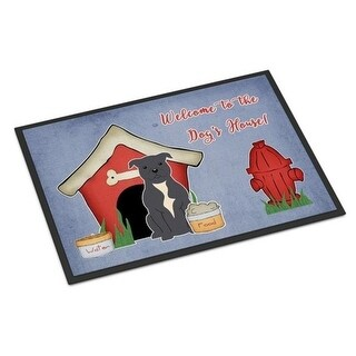 Carolines Treasures BB2800JMAT Dog House Collection Staffordshire Bull Terrier Blue Indoor or Outdoor Mat 24 x 0.25 x 36 in.