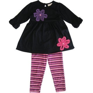 Carter's Little Girls Black Purple Floral Detail Stripe 2 Pc Legging Set