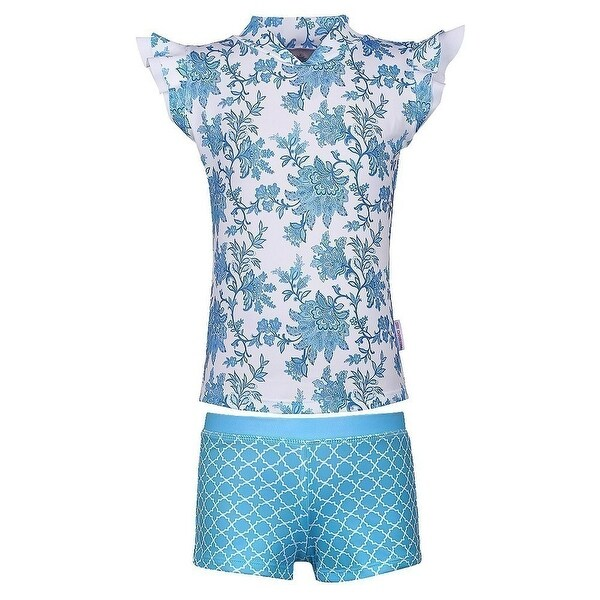 Sun Emporium Baby Girls Blue Paisley Moroccan Sun Shirt Boyleg 2 Pc Set