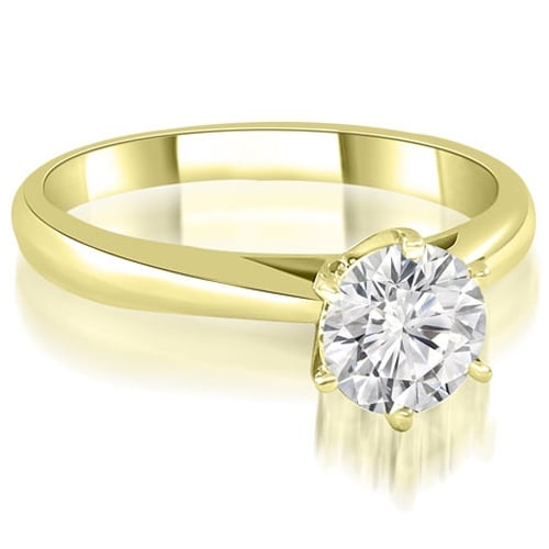 0.50 cttw. 14K Yellow Gold Cathedral 6-Prong Round Cut Diamond Engagement Ring