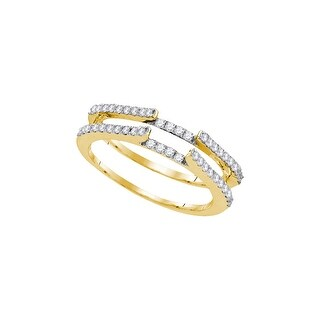 14kt Yellow Gold Womens Round Natural Diamond Ring Guard Wrap Solitaire Enhancer 1/2 Cttw - White