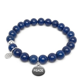 Lucy Blue Jade Peace Charm Stretch Bracelet, Sterling Silver