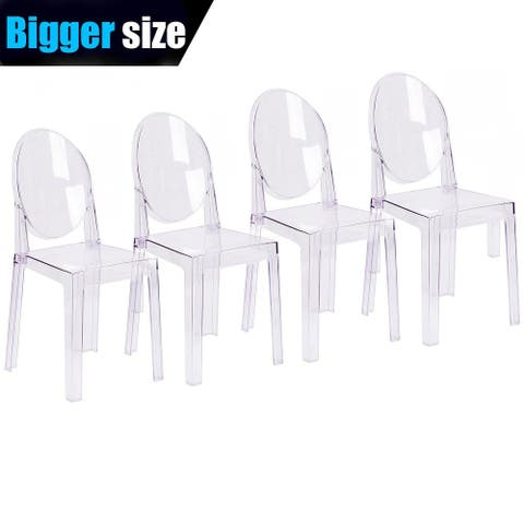 Set of 4, Clear Plastic Chairs Polycarbonate Arcylic Armless Side