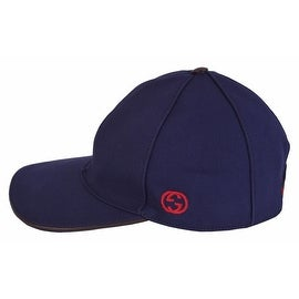 NEW Gucci Men's 387554 BLUE Canvas Interlocking GG Web Baseball Cap Hat LARGE