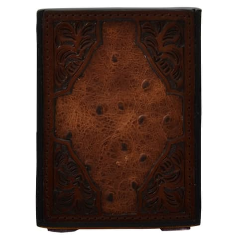 """3D Western Pencil Holder Hand Tooled Floral Square Rustic Brown - 3"""" x 4"""" x 3"""""""