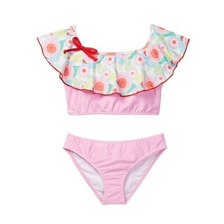 Azul Girls Pink Sweet Jane Peasant Ruffle Bow Bikini 2 Pc Swimsuit
