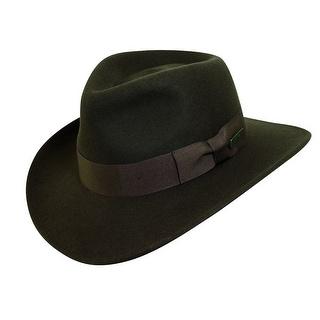 Dorfman Pacific Men's Indiana Jones Wool Felt Crushable Outback Hat, Brown