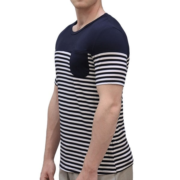 45117b95ffb179 Shop Men's Short Sleeve Patch Pocket Slim Fit Casual Striped T-Shirt - Navy  Blue - Free Shipping On Orders Over $45 - Overstock - 19893175
