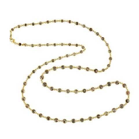 18k Gold Opera Necklace Genuine Diamond Jewelry With Jewelry Box