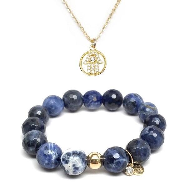 "Blue Sodalite 7"" Bracelet & CZ Hamsa Hand Gold Charm Necklace Set"