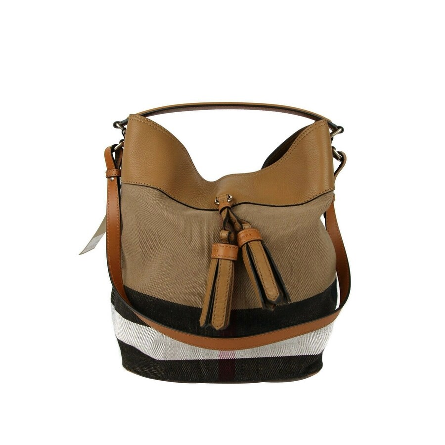 Burberry Women's Brown Brit Canvas Check Medium Ashby Tassel Hobo Bag With Pouch 39829371