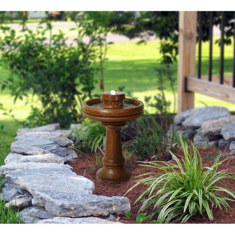 "Alpine Corporation 29"" Tall Outdoor 2-Tier Traditional Birdbath Water Fountain with LED Lights"