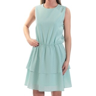 Womens Aqua Sleeveless Above The Knee Fit + Flare Party Dress Size: S