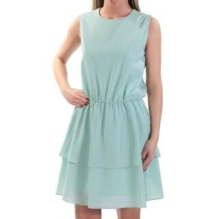 CYNTHIA ROWLEY Womens Aqua Rhinestone Sleeveless Jewel Neck Above The Knee Fit + Flare Party Dress Size: XS