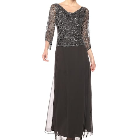c53eb7fd996 J Kara Gray Women s Size 12 Cowl Neck Beaded Prom Gown Dress