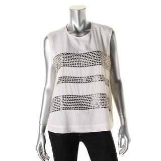 DKNYC Womens Embellished Lightweight Blouse