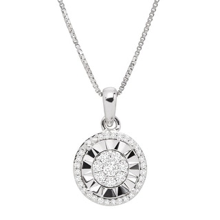 1 5 Ct Diamond Halo Pendant In Sterling Silver 18