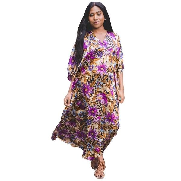 Metropolitan Women  x27 s Tropical Long Lounger - Printed V-Neck Silky  Caftan. Click to Zoom 80312f2d7