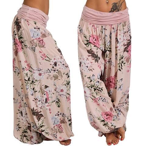 Chunhe Womens Plus Size Yoga Pants Sweatpants Loose Comfy Drawstring Lounge Casual Harem Joggers Trousers White S