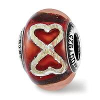 Italian Sterling Silver Reflections Foil Heart Infinity Red Glass Bead (4.5mm Diameter Hole)