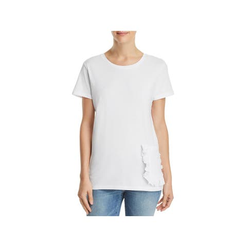 French Connection Womens T-Shirt Ruffled Crew Neck