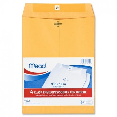 "Mead 76012 Heavyweight Brown Kraft Clasp Envelopes, 9"" x 12"", 4-Pack"