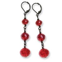Black IP Red Crystal Beaded Cluster Drop Earrings