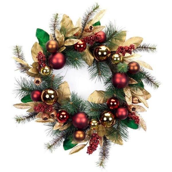 Pack of 2 Artificial Glittered Green, Gold and Red Pine, Berry and Ornament Christmas Wreaths 24""