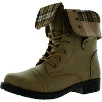 Anna Womens Tammy-12 Comfy Mid-Calf Cuff Military Combat Flat Lace Up Boot - taupe
