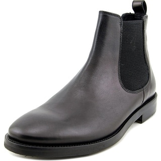 Theory Chelsea Men Round Toe Leather Black Boot