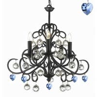 Bellora Crystal Wrought Iron Chandelier with Faceted Crystal Balls And Blue Hearts
